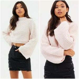 Missguided Luxe Flare Sleeve Knitted Crop Sweater